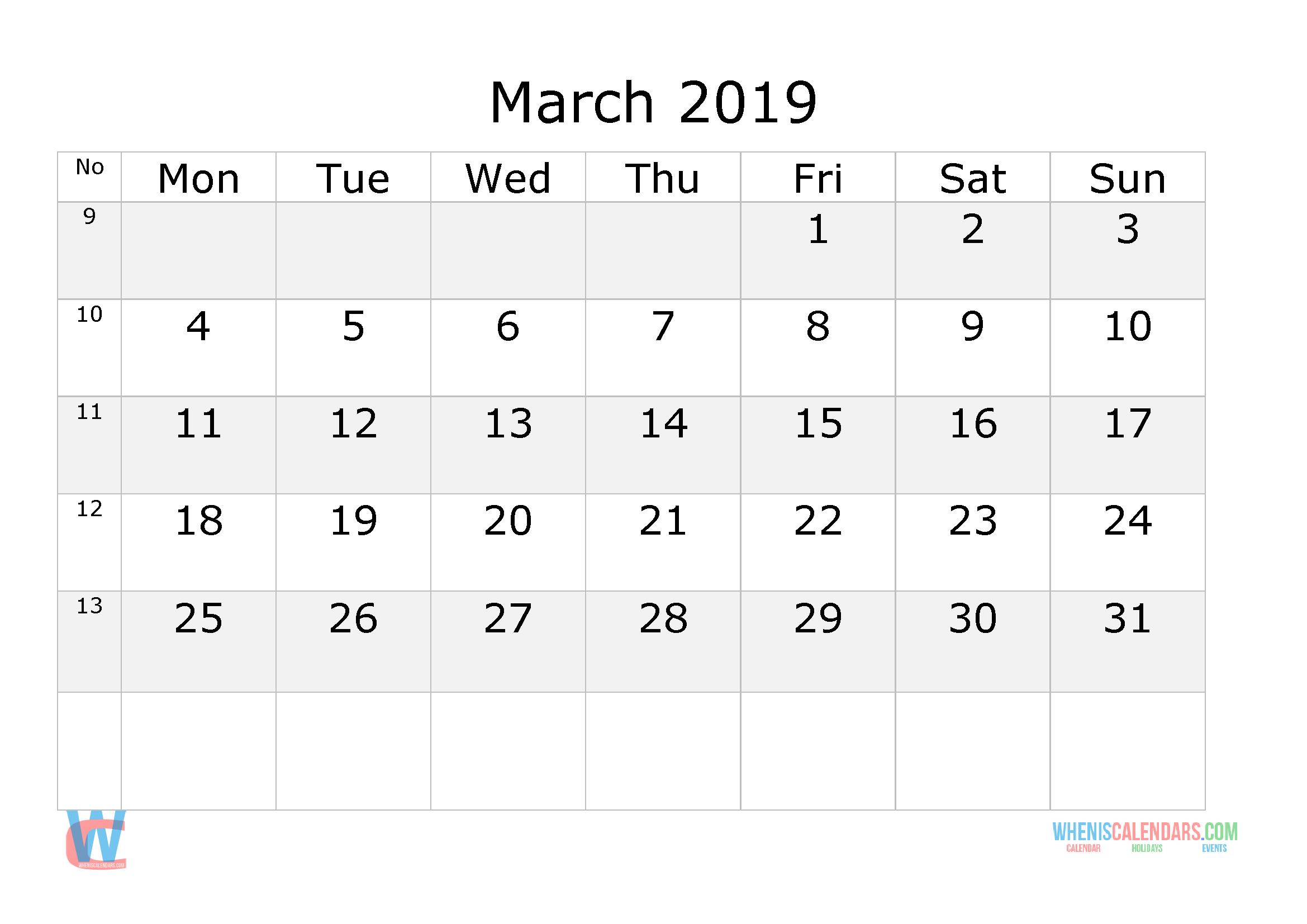 March 2019 Calendar With Week Numbers Printable, Start