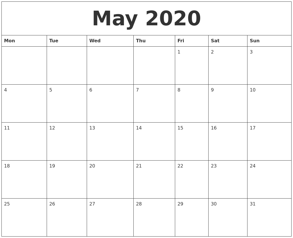 May 2020 Blank Calendar Printable-Blank Calander Print Out