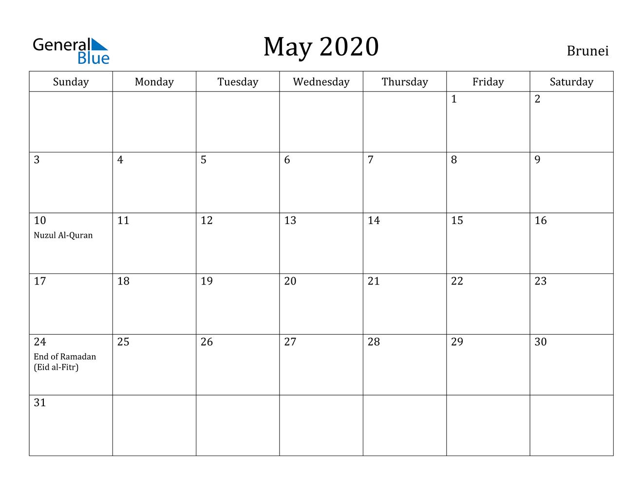May 2020 Calendar - Brunei