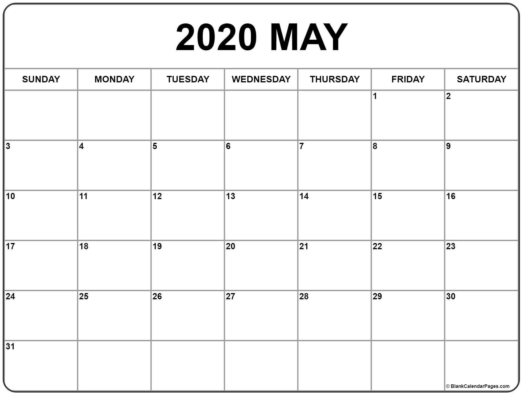 May 2020 Calendar | Free Printable Monthly Calendars-Blank 2