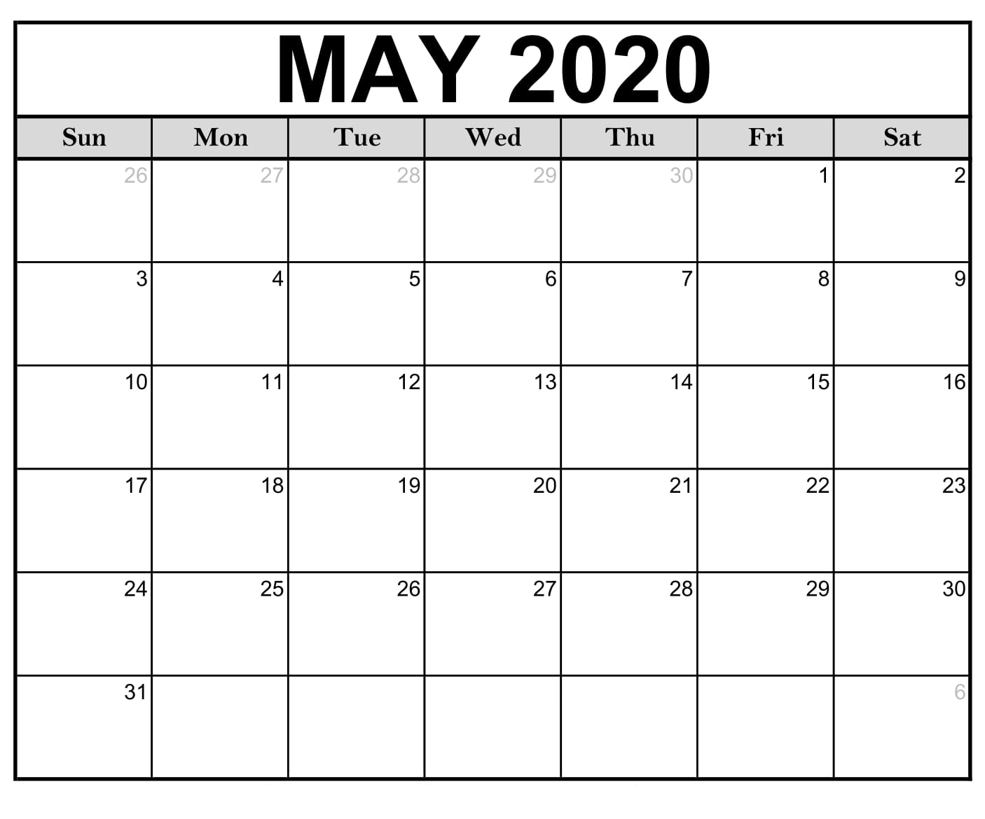 May 2020 Calendar Printable Free Monthly Calendar