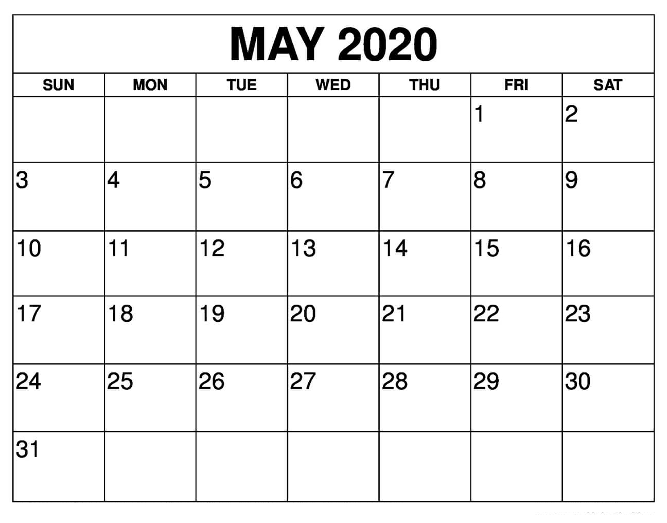 May 2020 Calendar Printable With Holidays Usa | 12 Month