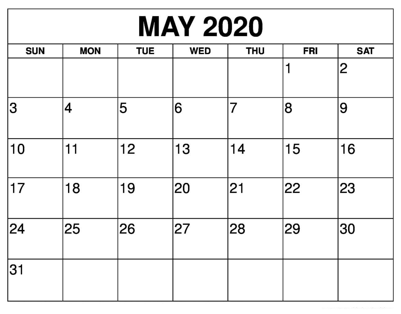 May 2020 Calendar Printable With Holidays Usa | 12 Month