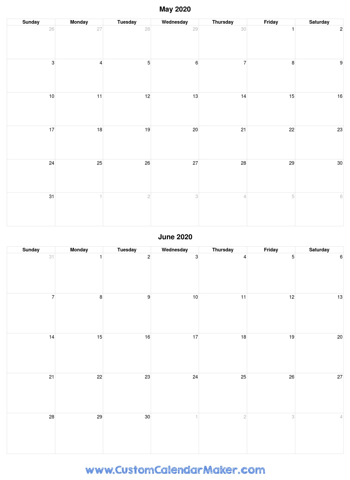 May And June 2020 Free Printable Calendar Template