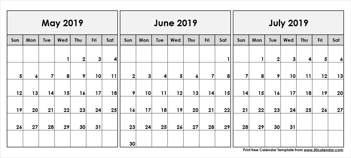 May June July 2019 Calendar | Calendar June, Calendar May