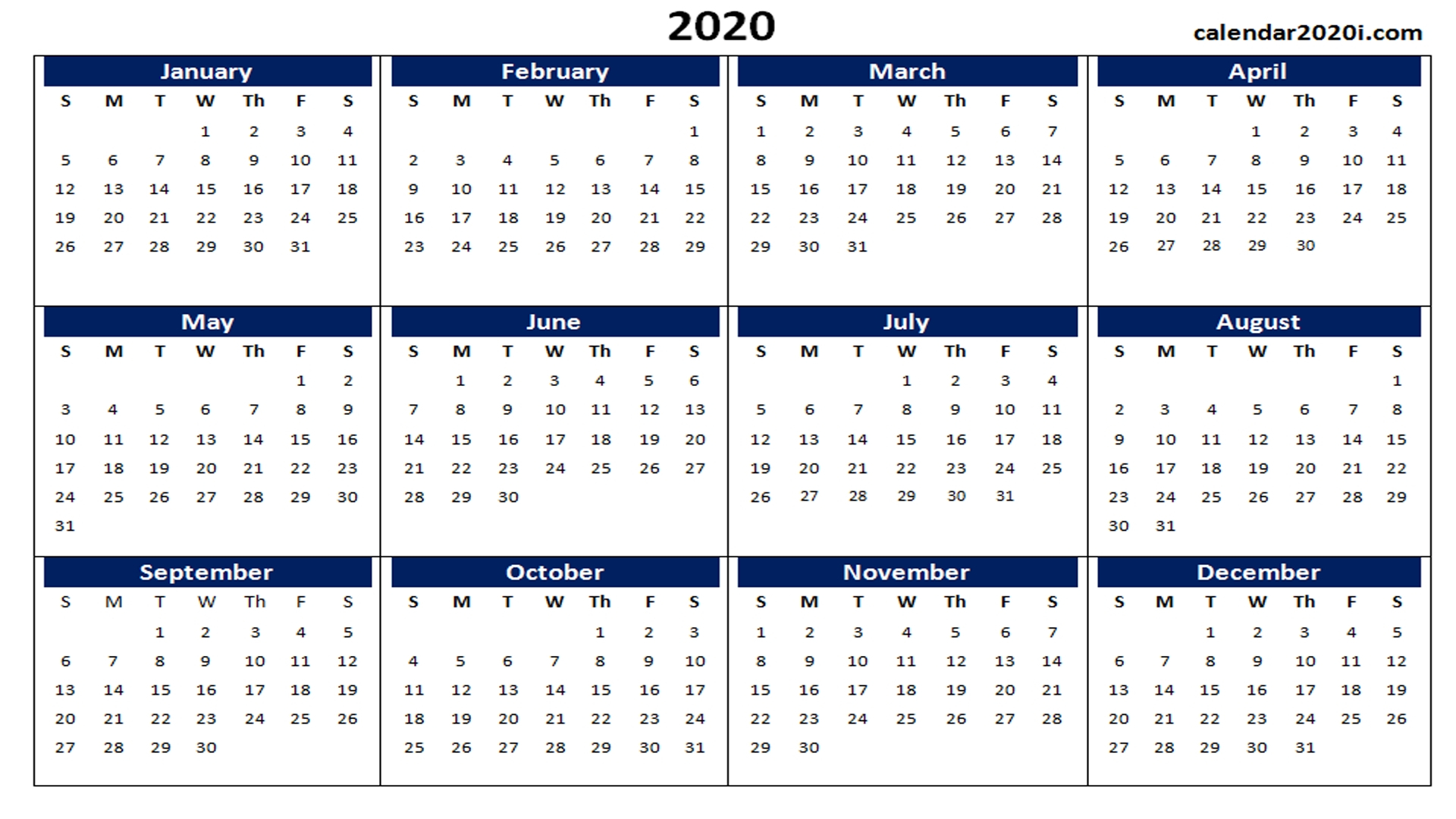 Microsoft Word Calendar 2020 Template | Monthly Printable