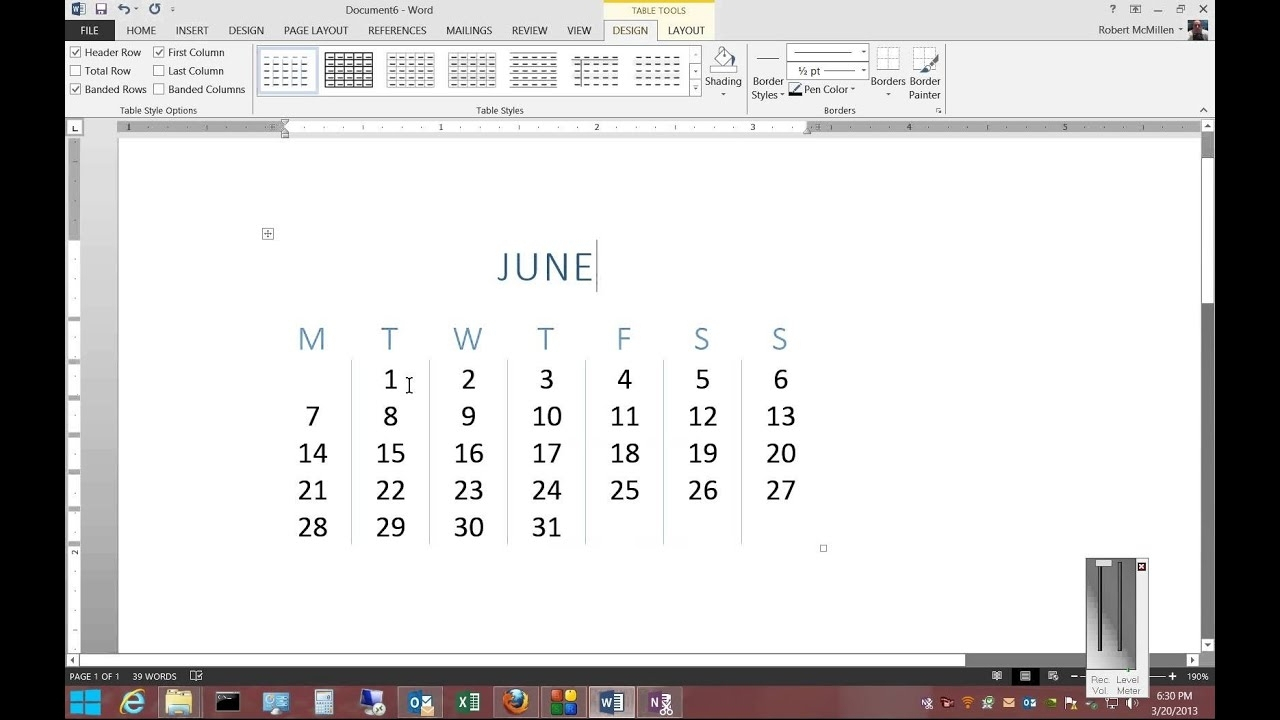 Microsoft Word Can You Insert Calendar Template | Monthly