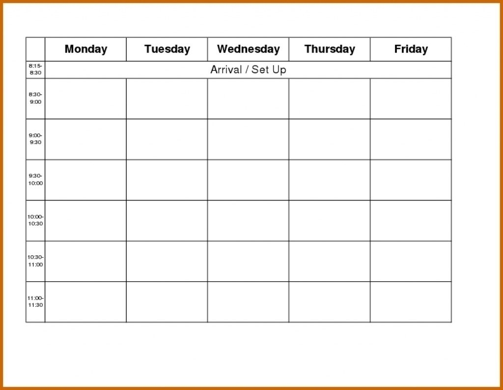 Monday Through Friday Calender Blank Template Printable