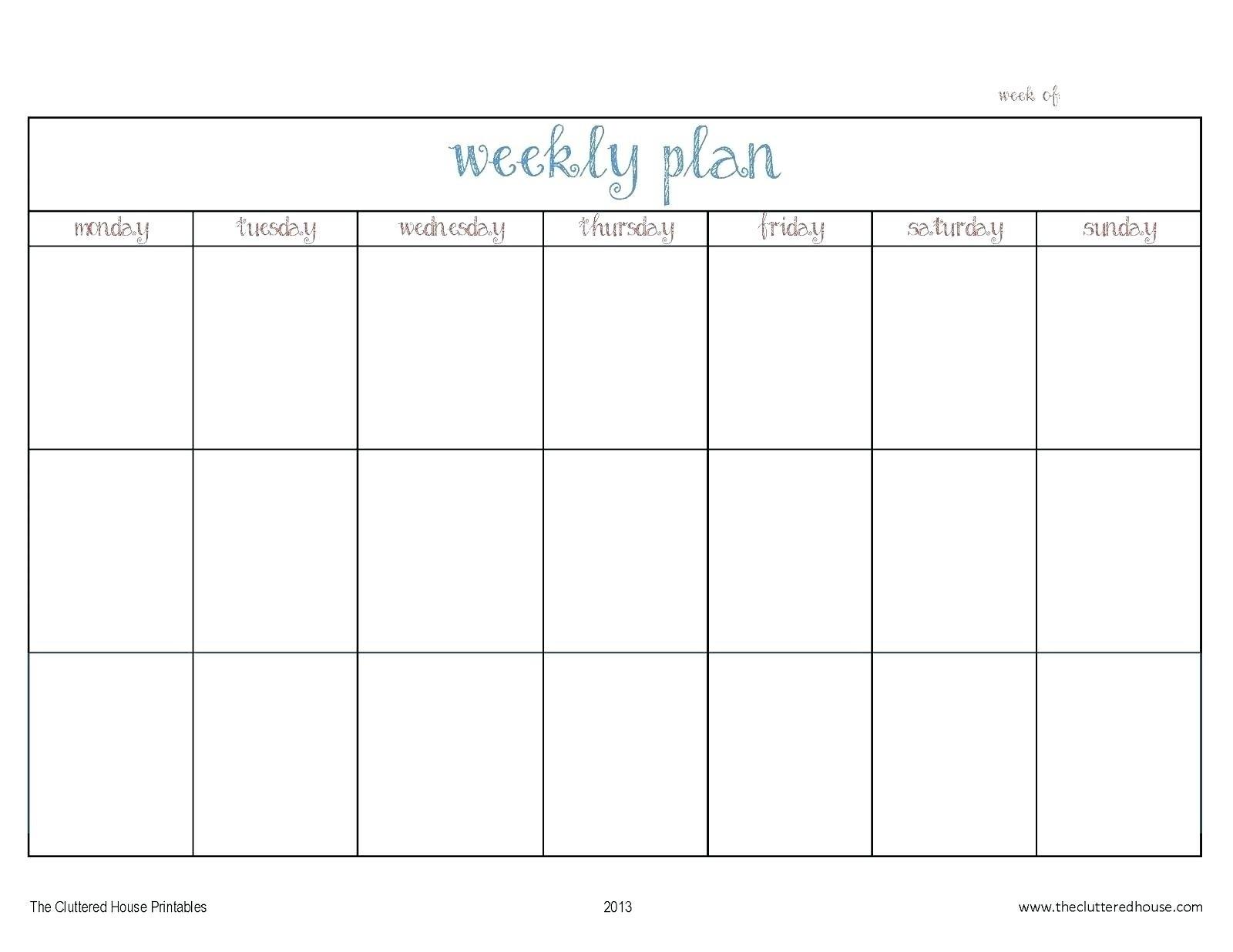 Monday Thru Friday Calendar Template | Ten Wall Calendar