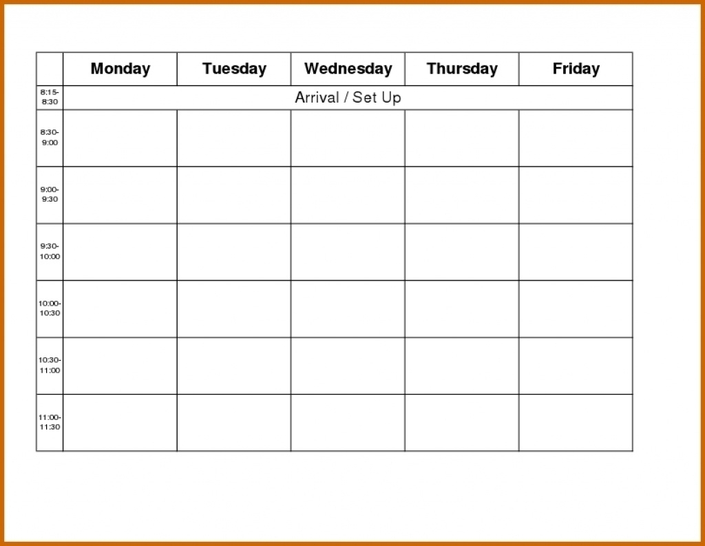 Monday To Friday Calendar Template | Example Calendar