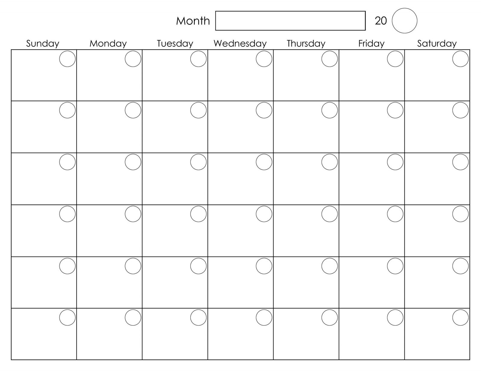 Monday To Friday Monthly Calendar Template | Monthly