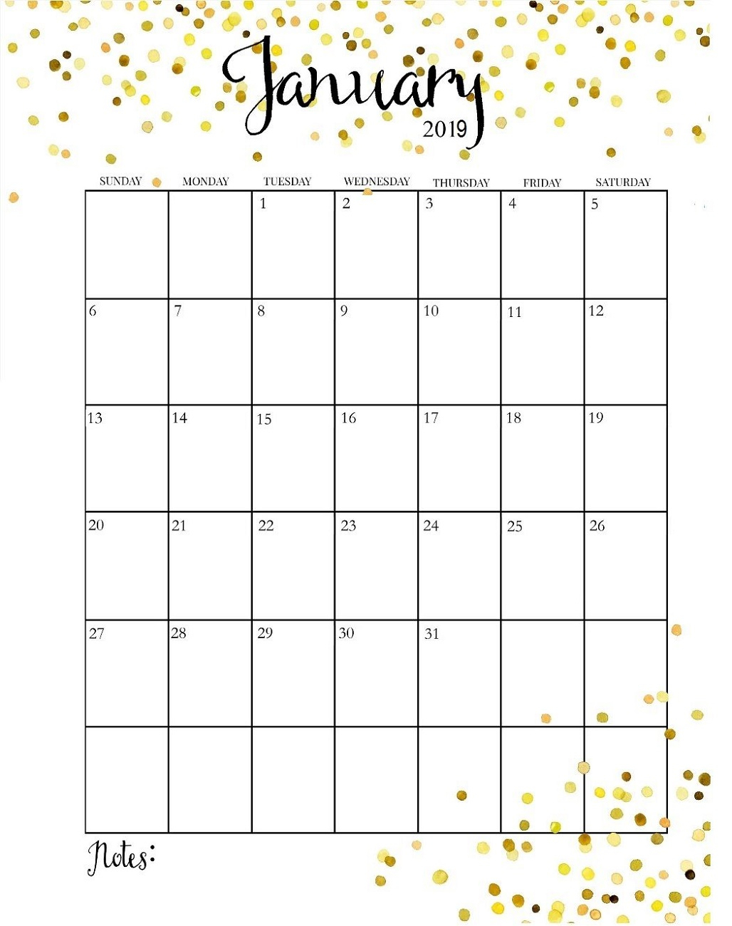 Month At A Glance Calendar Printable 2019 | Calendar Shelter