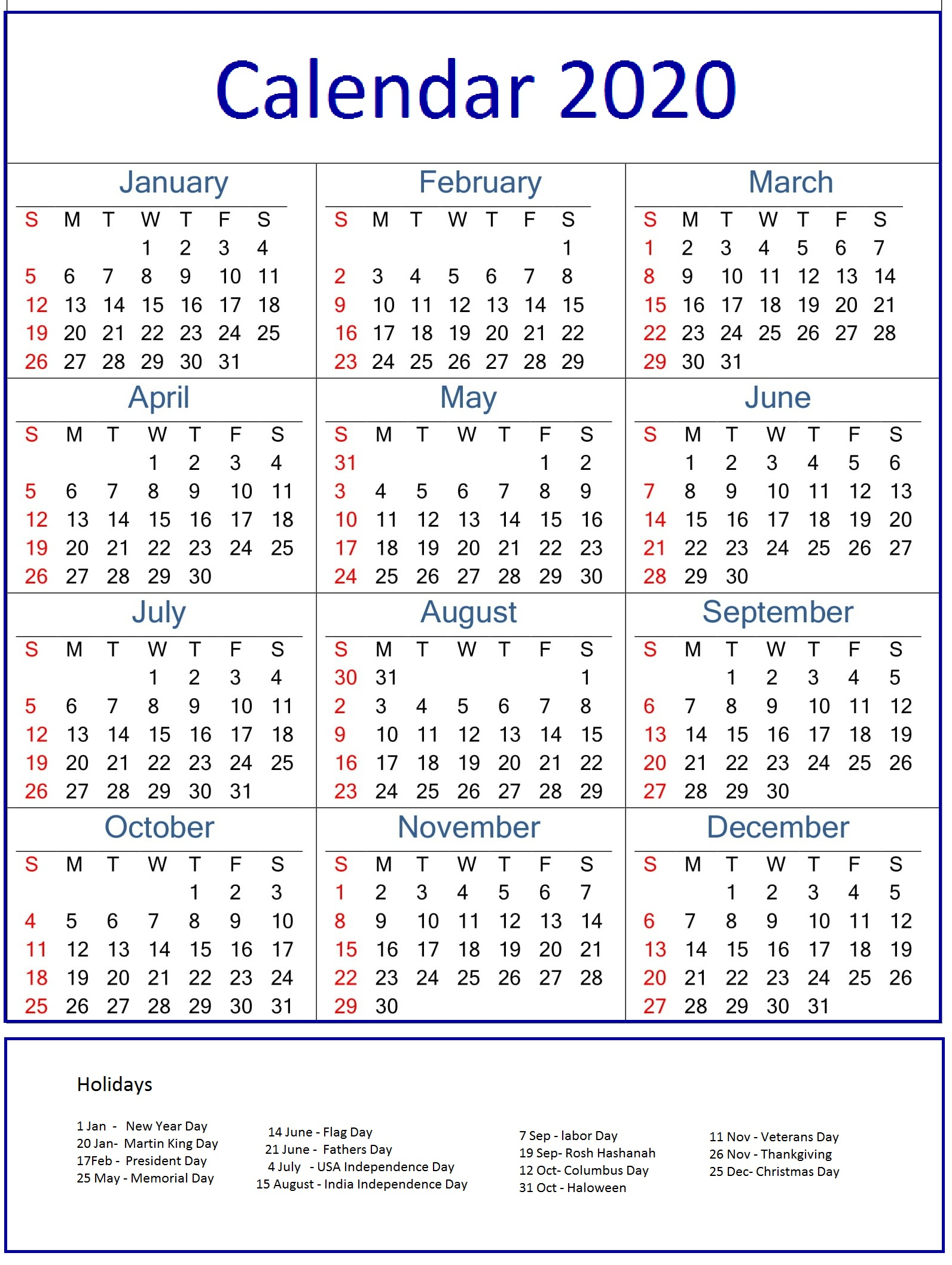 Monthly Calendar Holidays 2020 | Calendar Ideas Design Creative