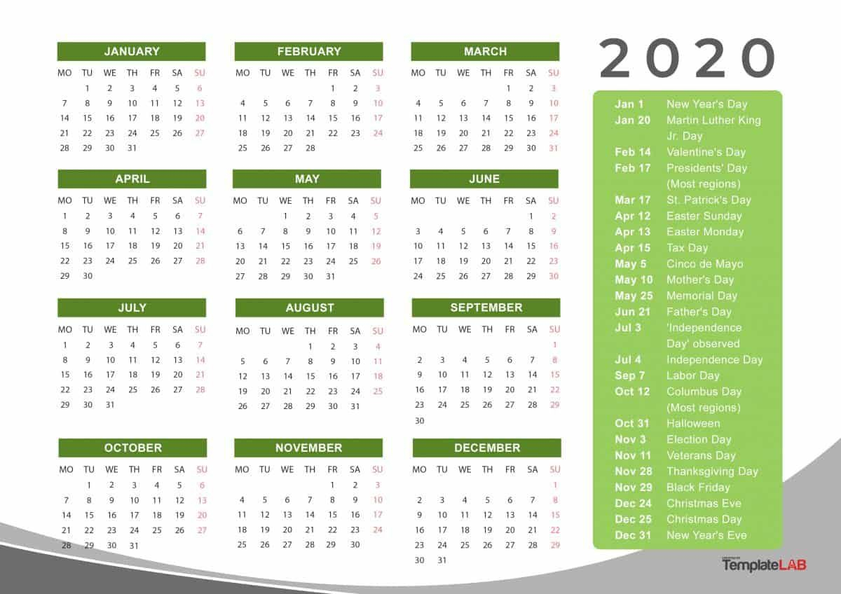 Monthly Calendar Holidays 2020 | Calendar Ideas Design Creative
