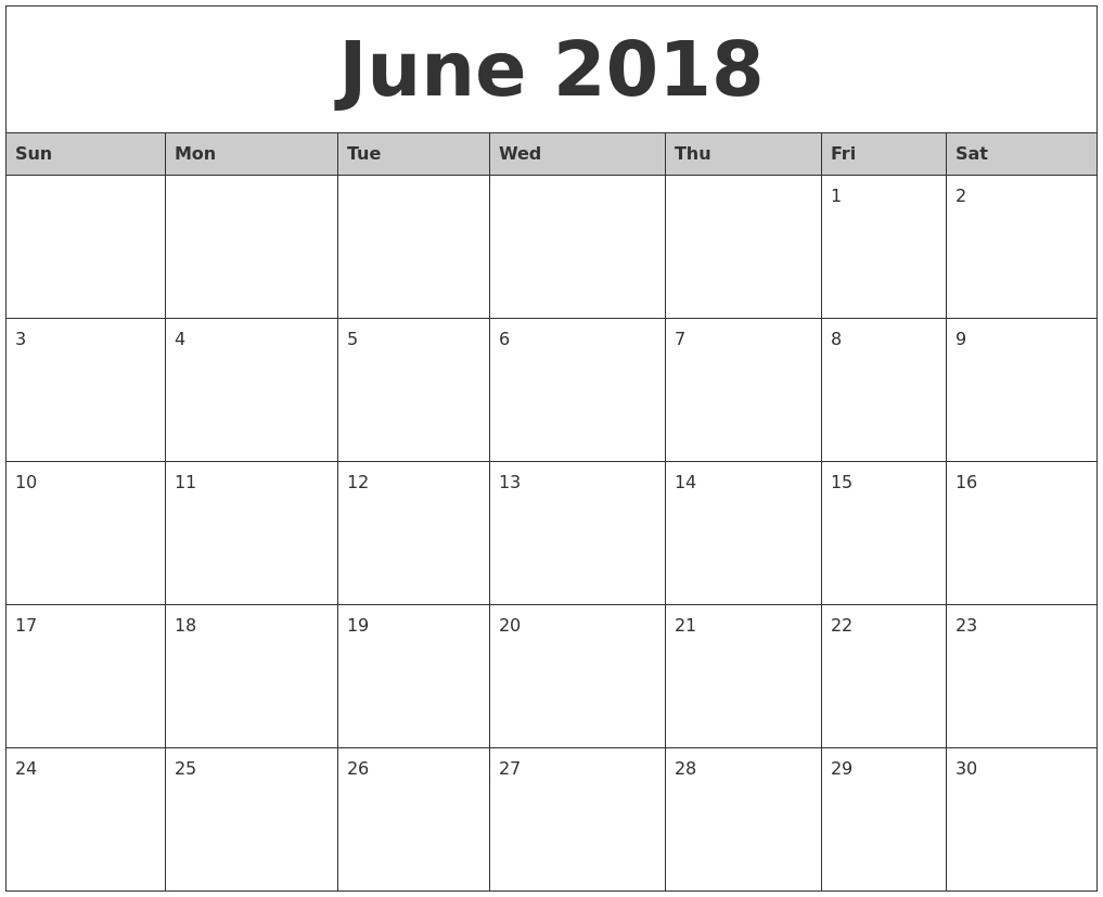 Monthly Calendar June – Printable Year Calendar