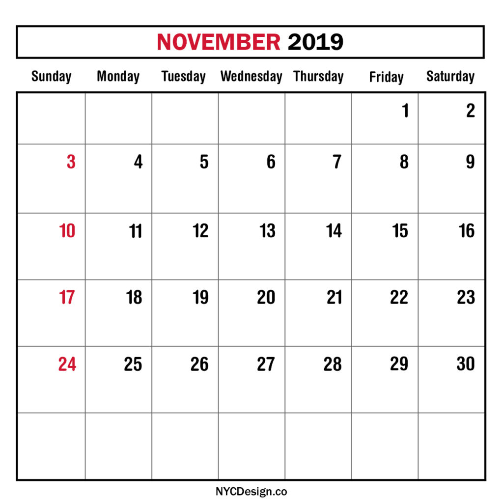 Monthly Calendar November 2019, Monthly Planner, Printable