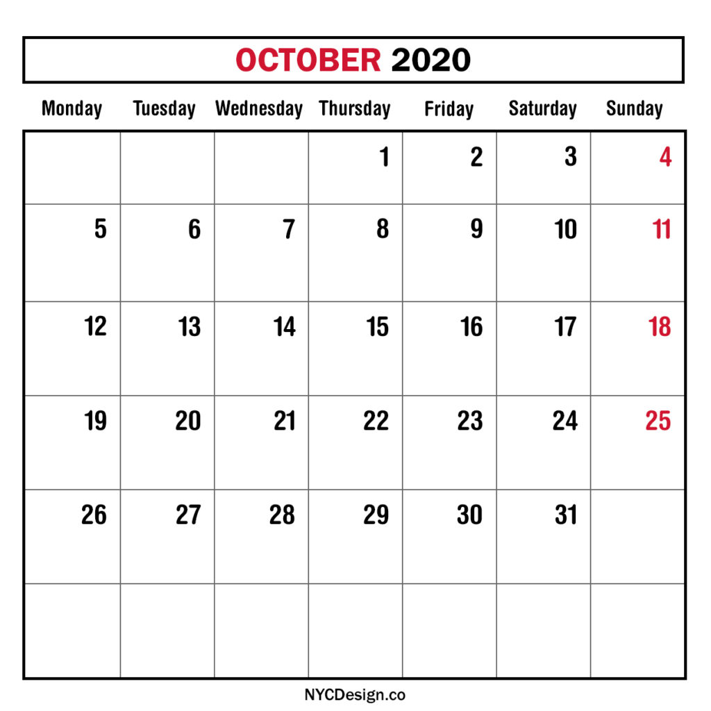 Monthly Calendar October 2020, Monthly Planner, Printable