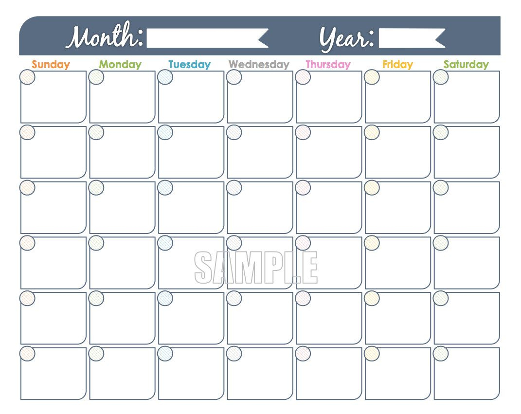 Monthly Calendar Printable - Undated, Fillable, Family