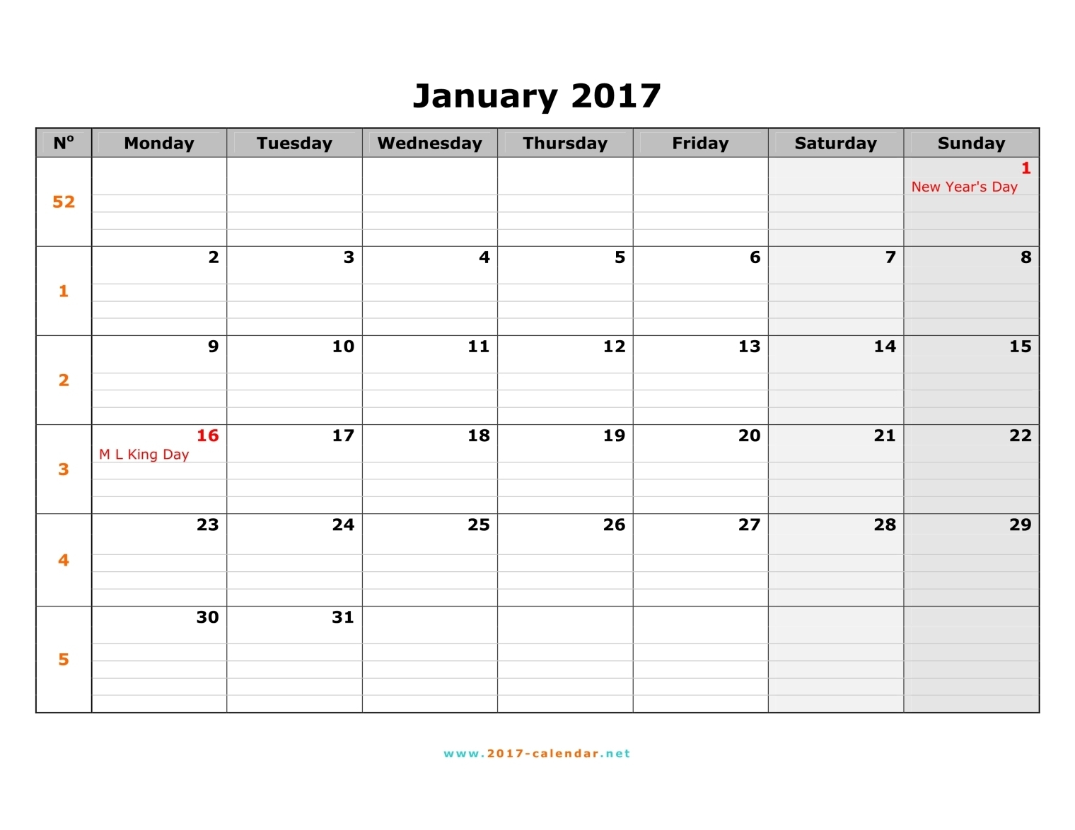 Monthly Calendar Starting With Monday – Printable Month Calendar