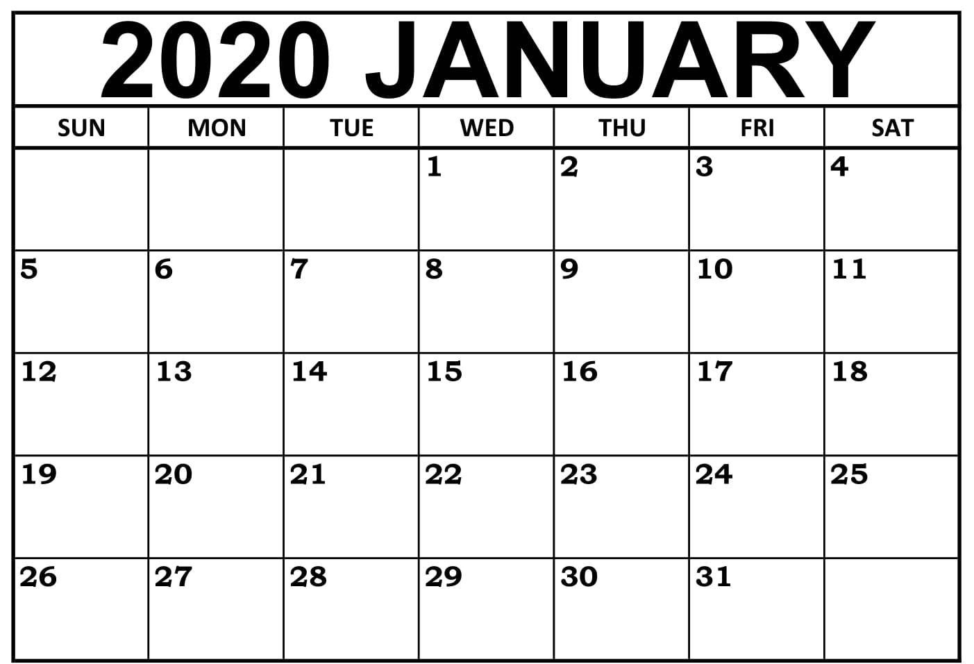 Monthly Calendar Template January 2020 #january #january2020