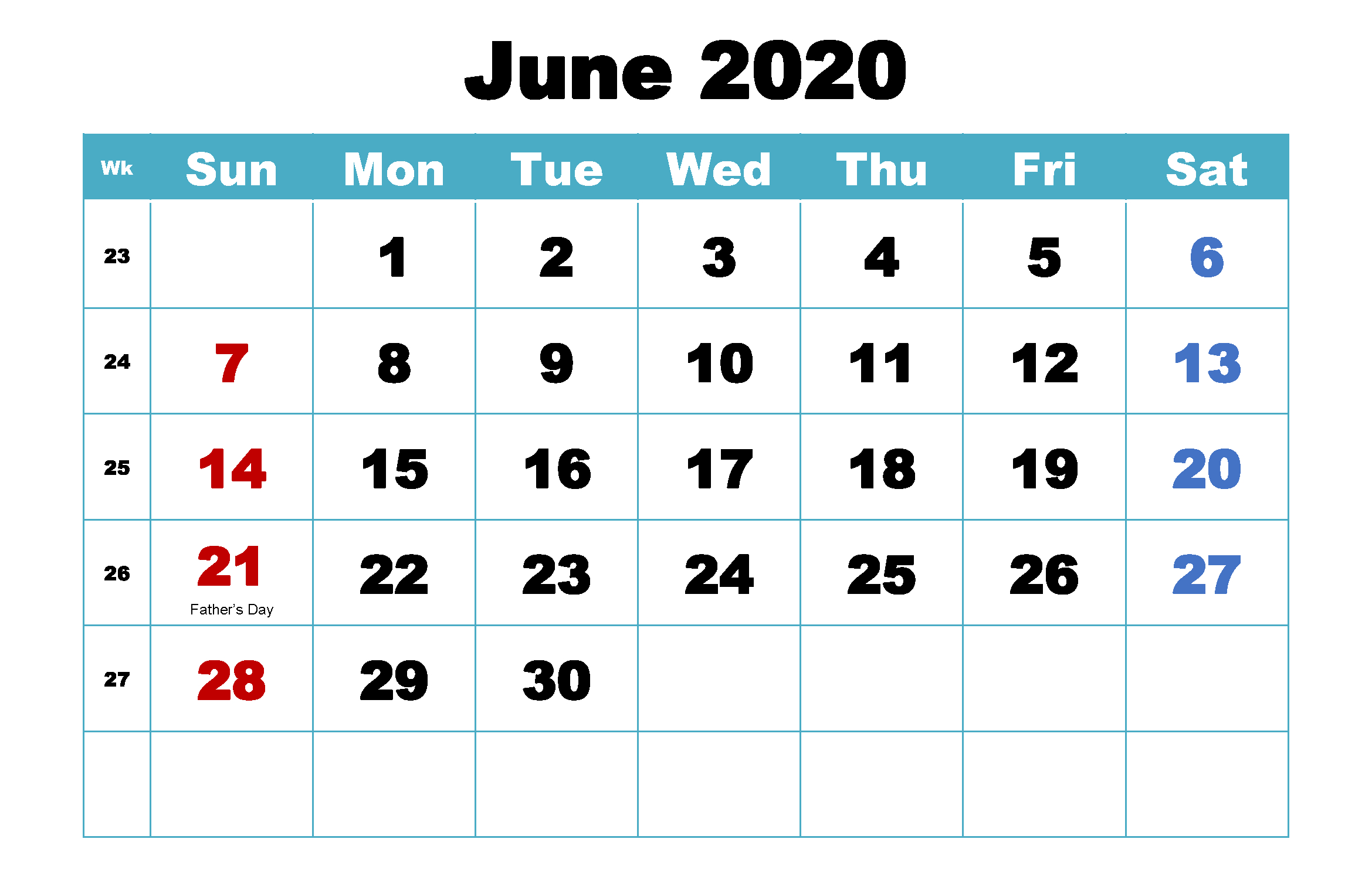 Monthly June Calendar 2020 Printable Editable Template