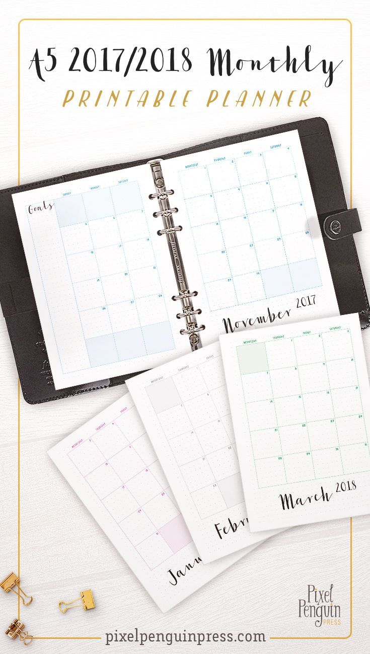 Monthly Planner 2018 2019, A5 Bullet Journal Inserts, A5