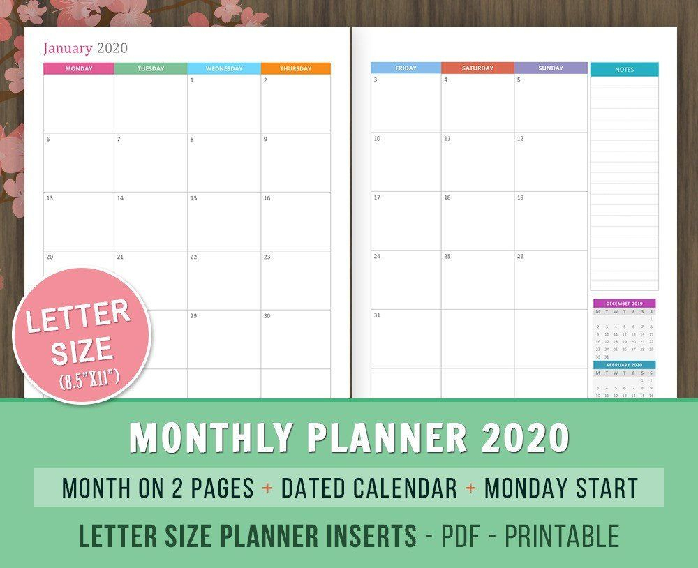 Monthly #planner 2020 #inserts, Month On 2 #pages, Dated