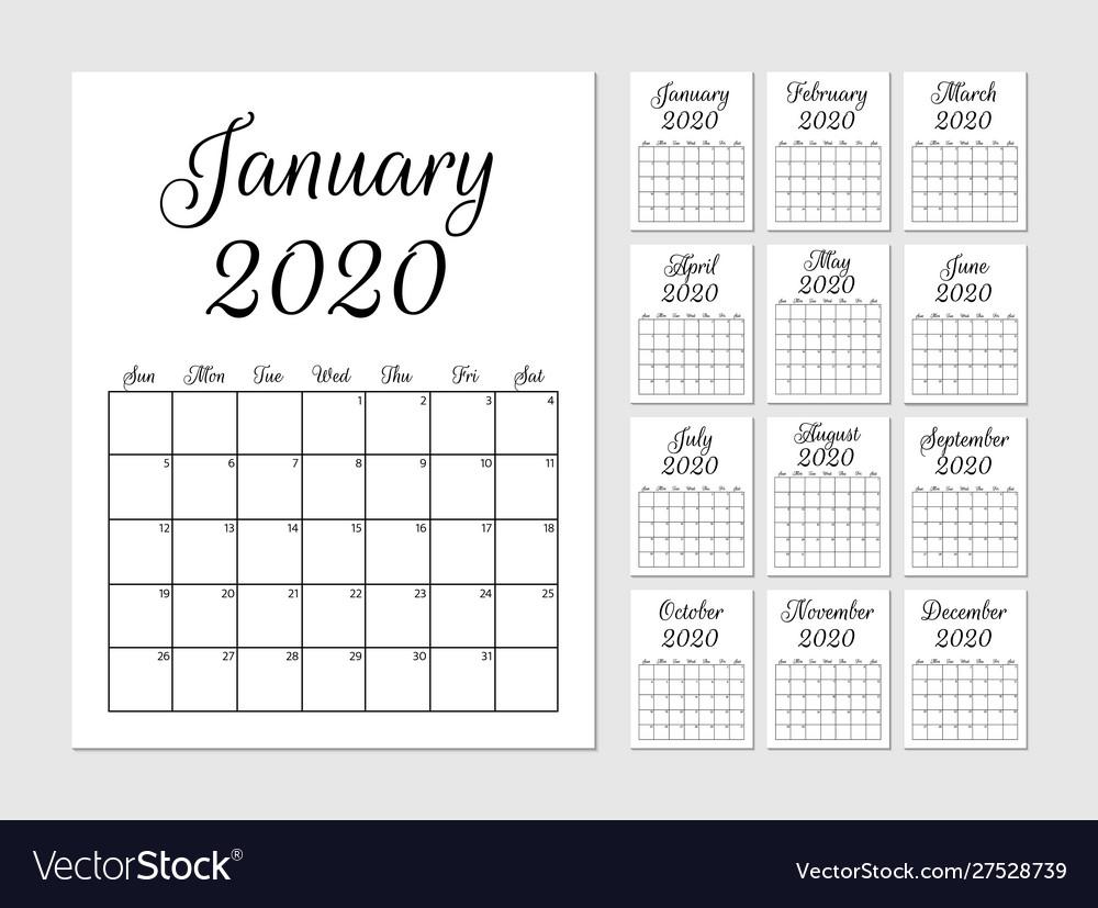 Monthly Planner 2020 Template Calendar Week