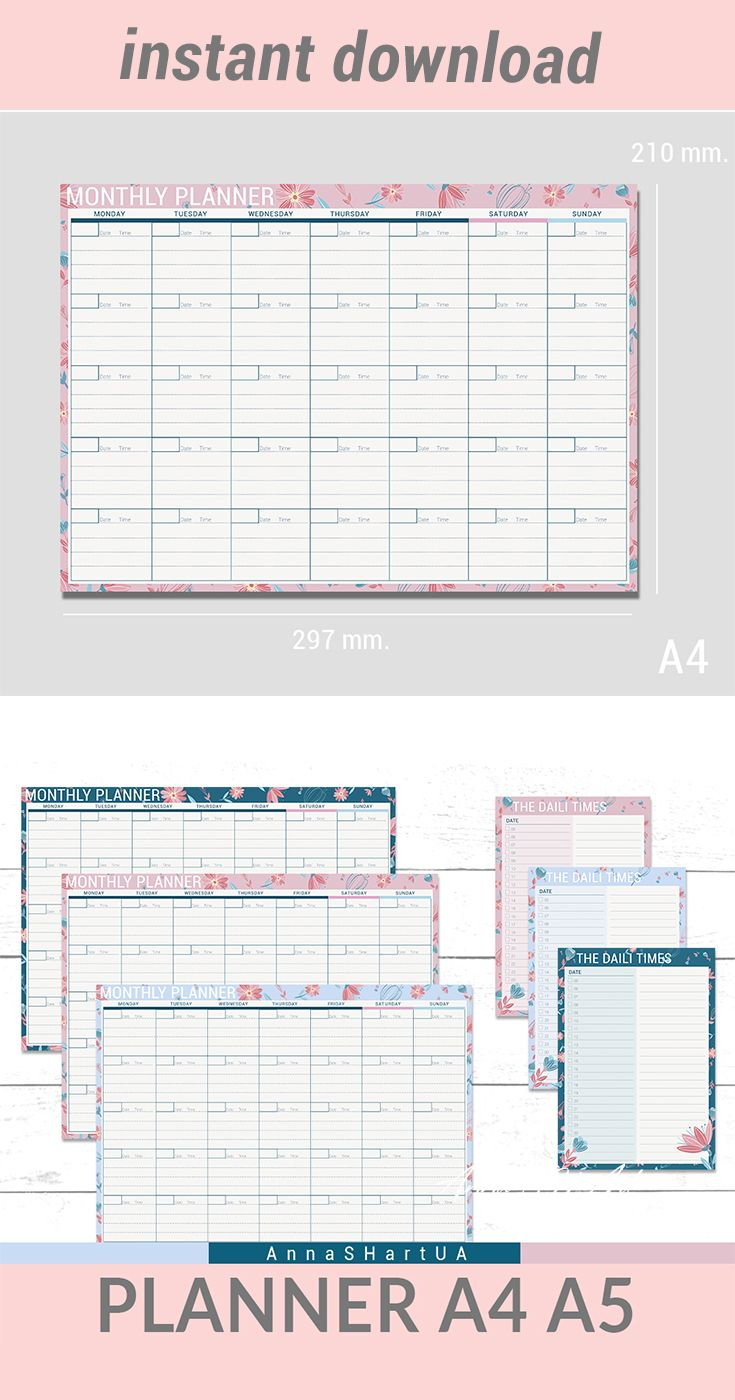 Monthly Planner Notebook Monthly Planner А4 Monthly Planner