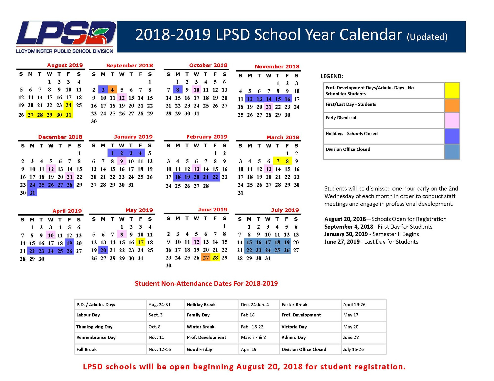 New Calendar For Current School Year | College Park School