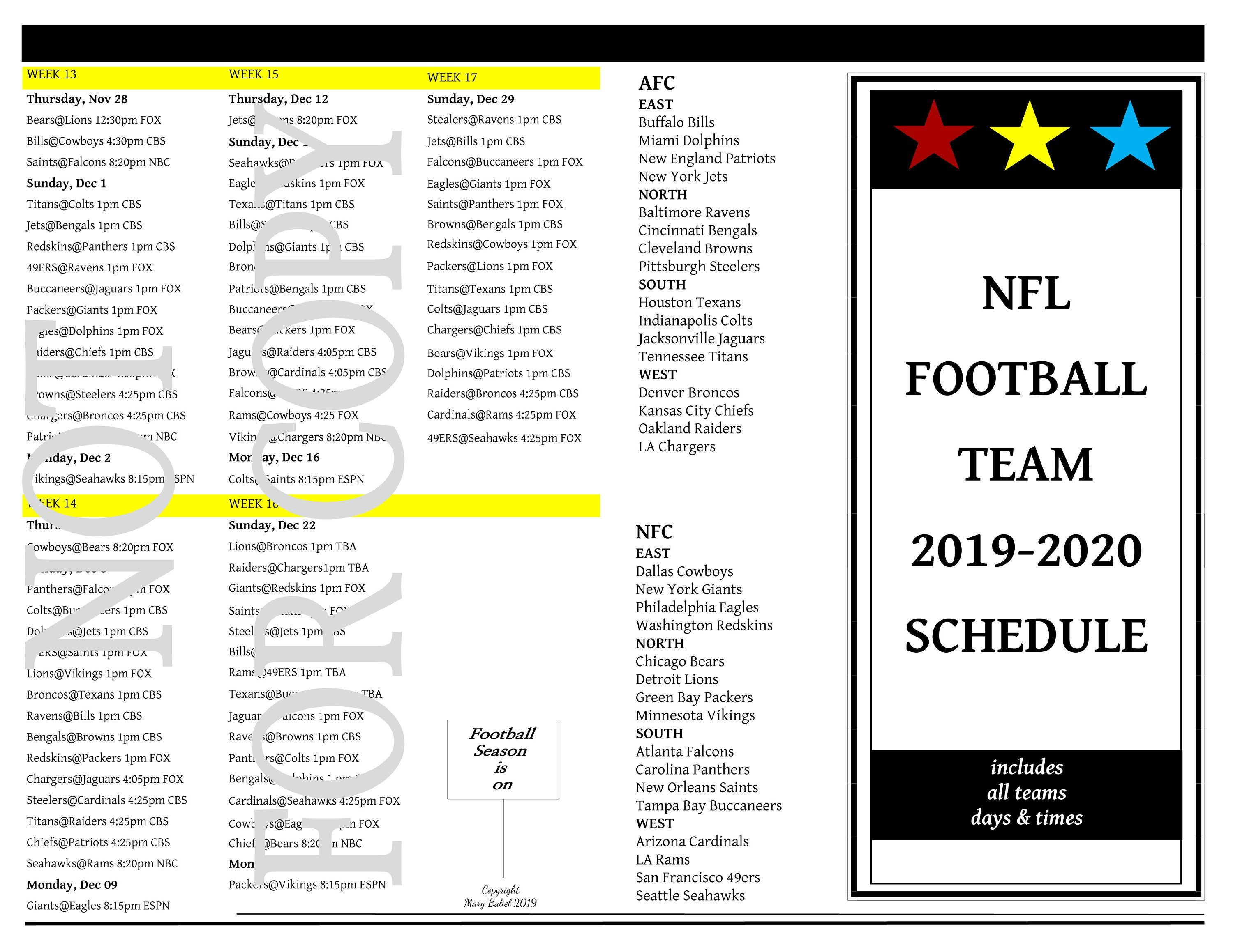 It's just an image of Smart Printable One Page Nfl Schedule 2020
