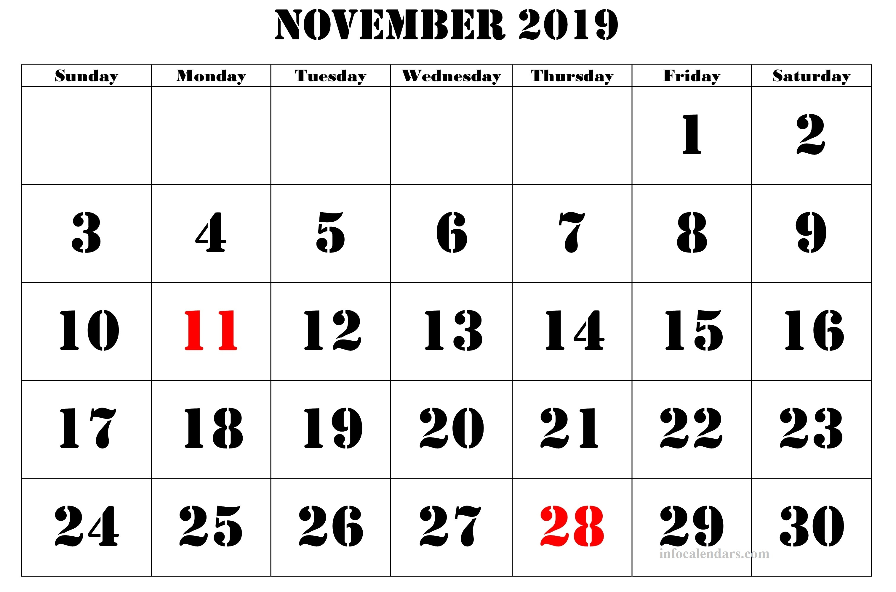 November 2019 Printable Calendar With Time Slots