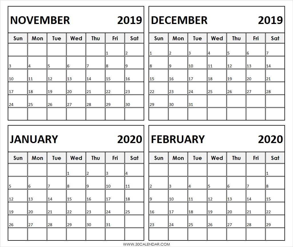 November 2019 To February 2020 Calendar | 4 Months Printable
