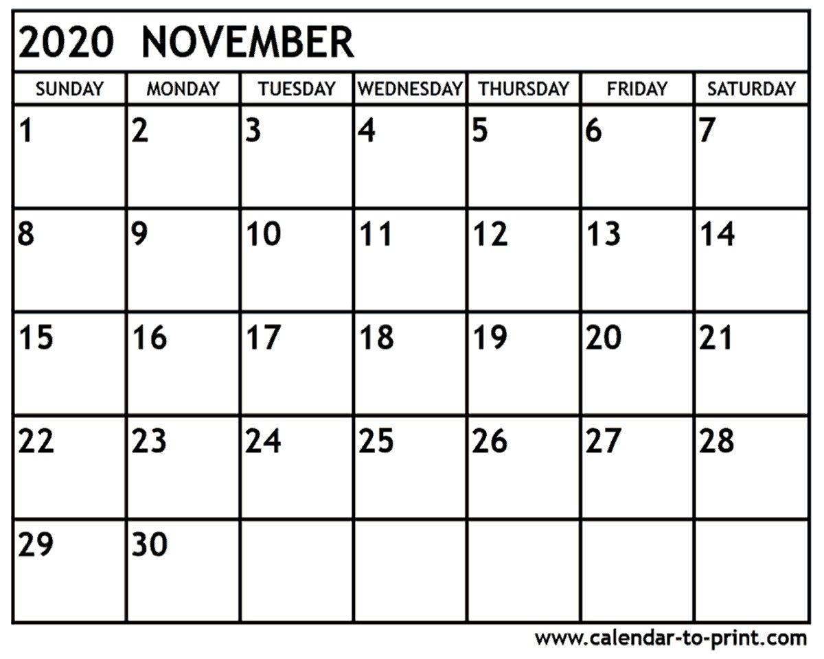 November 2020 Calendar Printable November 2020 Calendar Free
