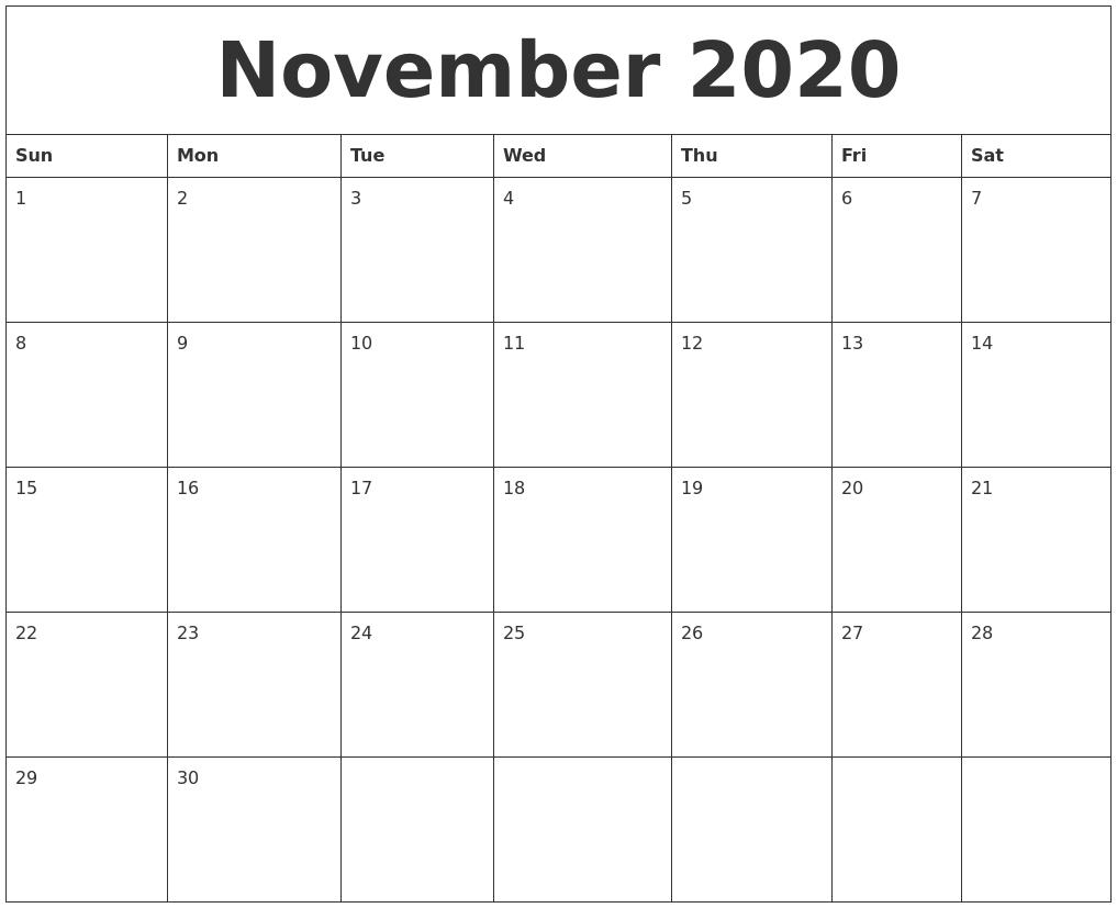 November 2020 Free Printable Weekly Calendar