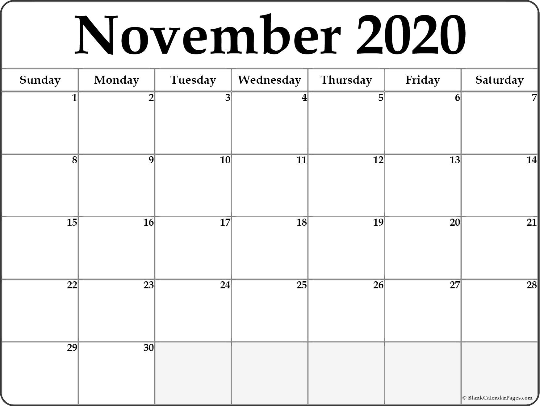November Calendar 2020 Template – Urgup.ewrs2018-Printable