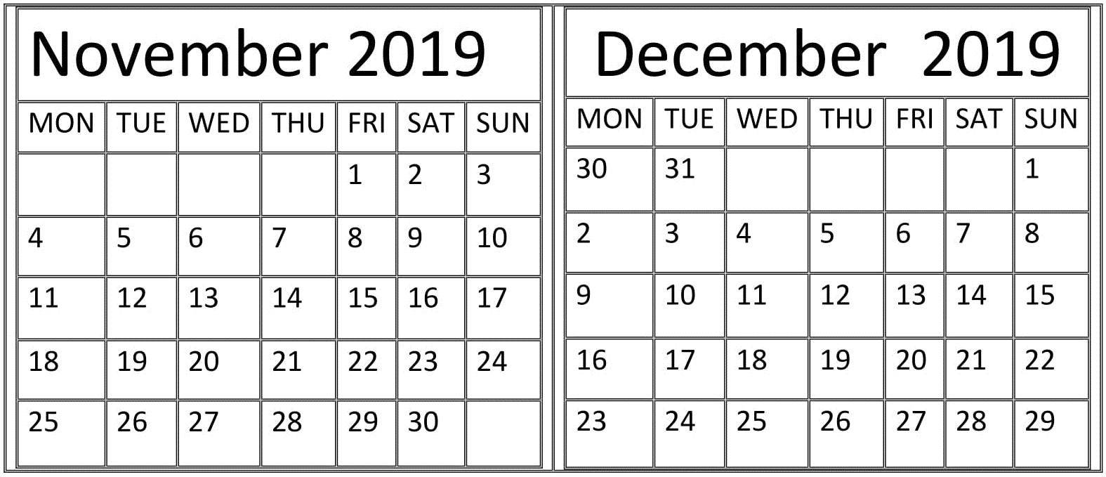 November December 2019 Calendar Printable Planner - Latest
