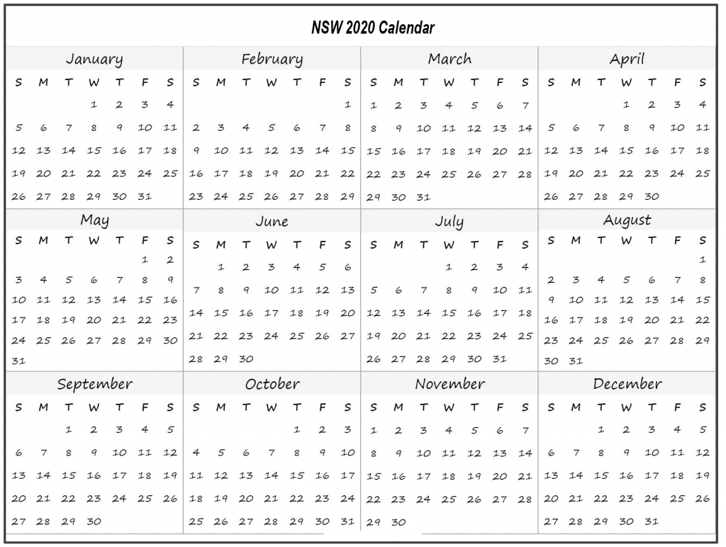 Nsw 2020 School Holidays Calendar Template (New South Wales