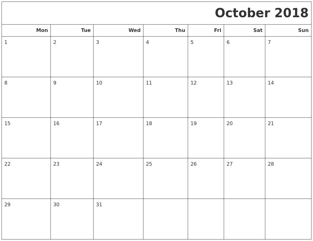 October 2018 Calendar Printable Monday Start | November