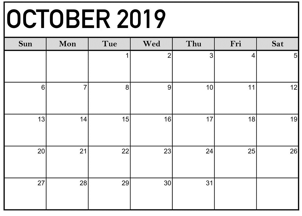 October 2019 Calendar Printable Word Template - Latest
