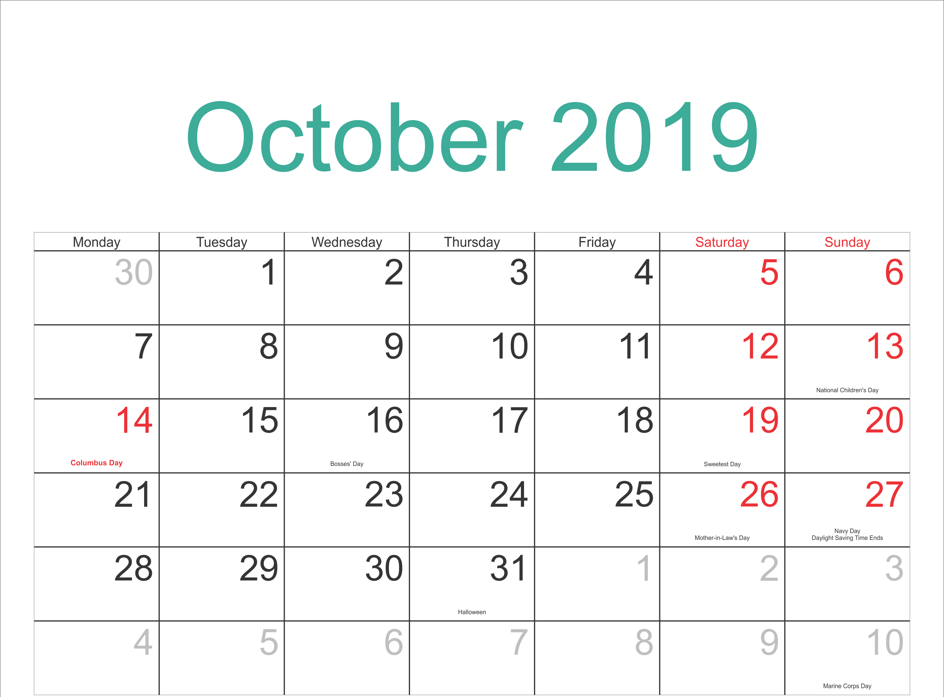 October 2019 Calendar With Holidays Template | Monthly