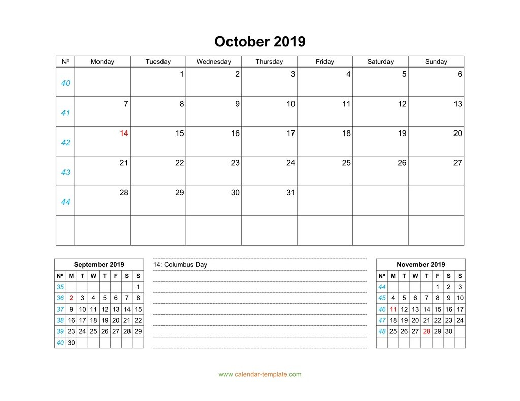 October 2019 Calendar With Previous And Next Month (Bottom)