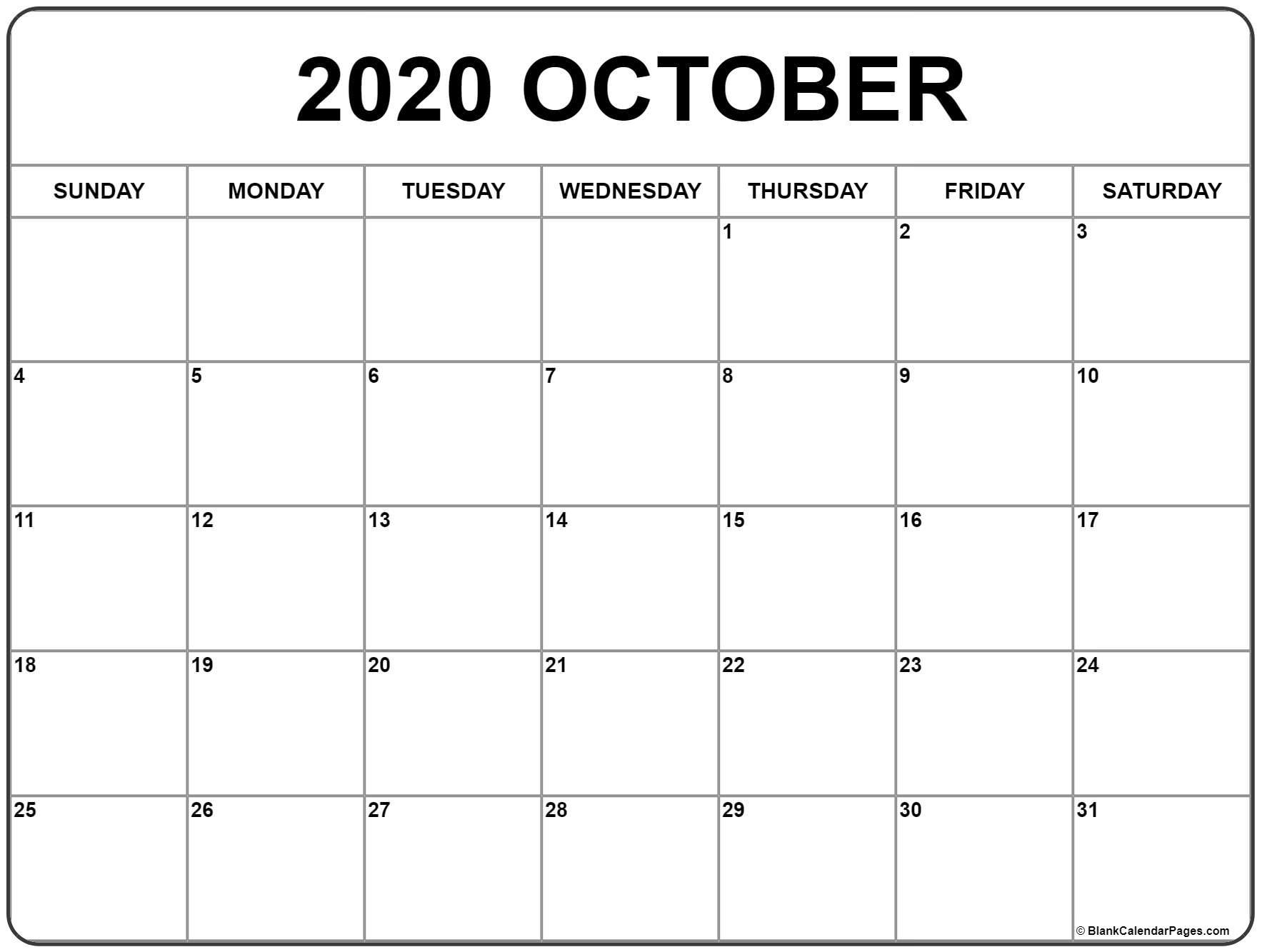 October 2020 Calendar | Free Printable Monthly Calendars