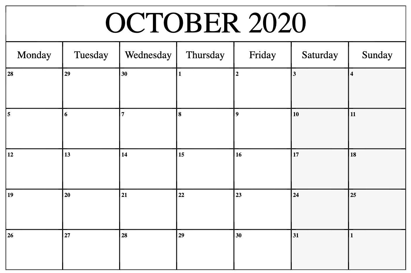 October 2020 Calendar Pdf, Word, Excel Template 1