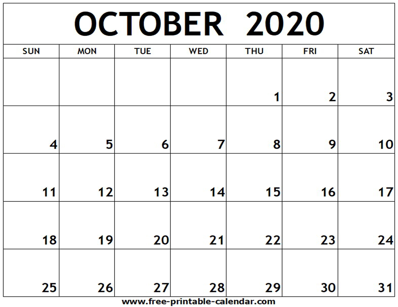October 2020 Printable Calendar Pdf - Zohre.horizonconsulting.co