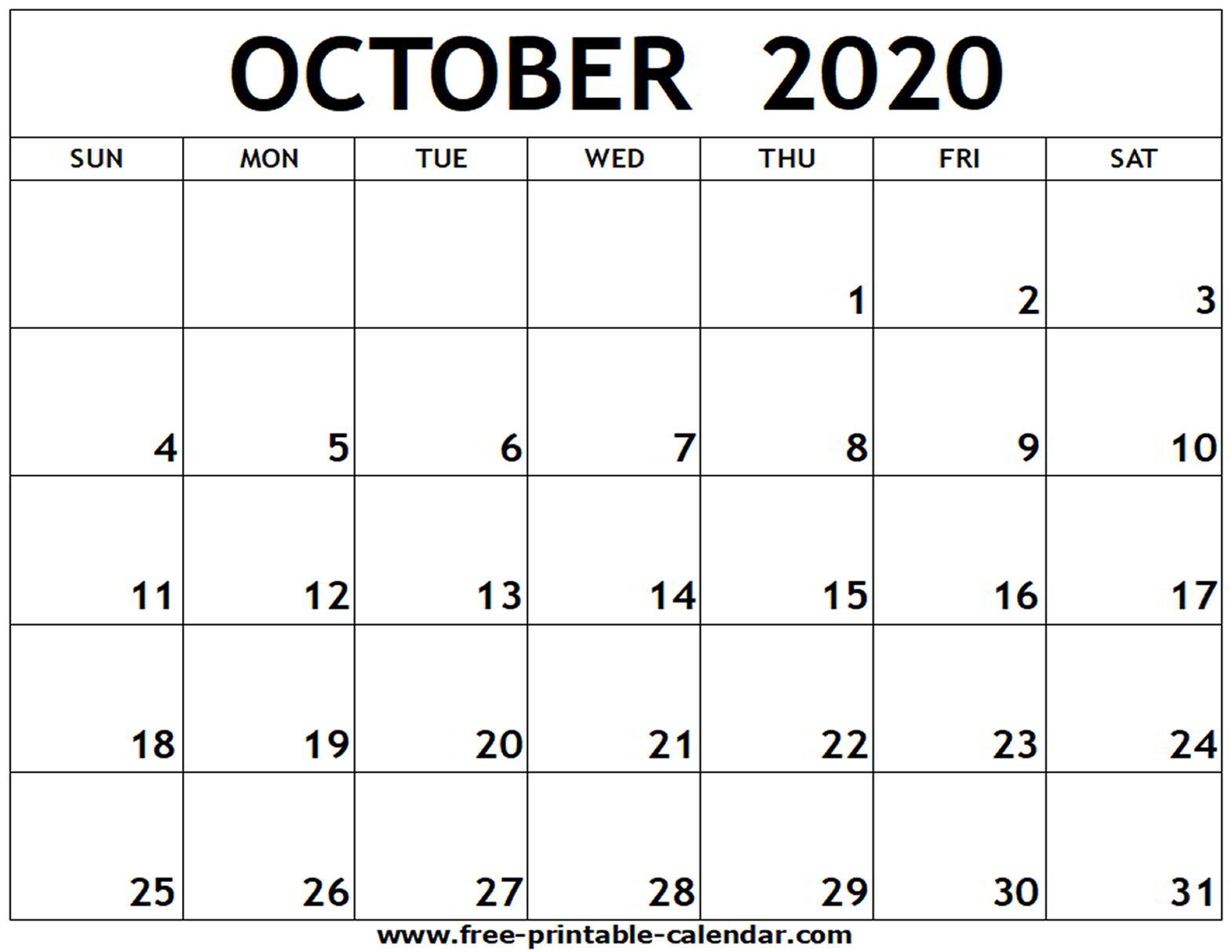 October 2020 Printable Calendar Pdf - Zohre.horizonconsulting.co