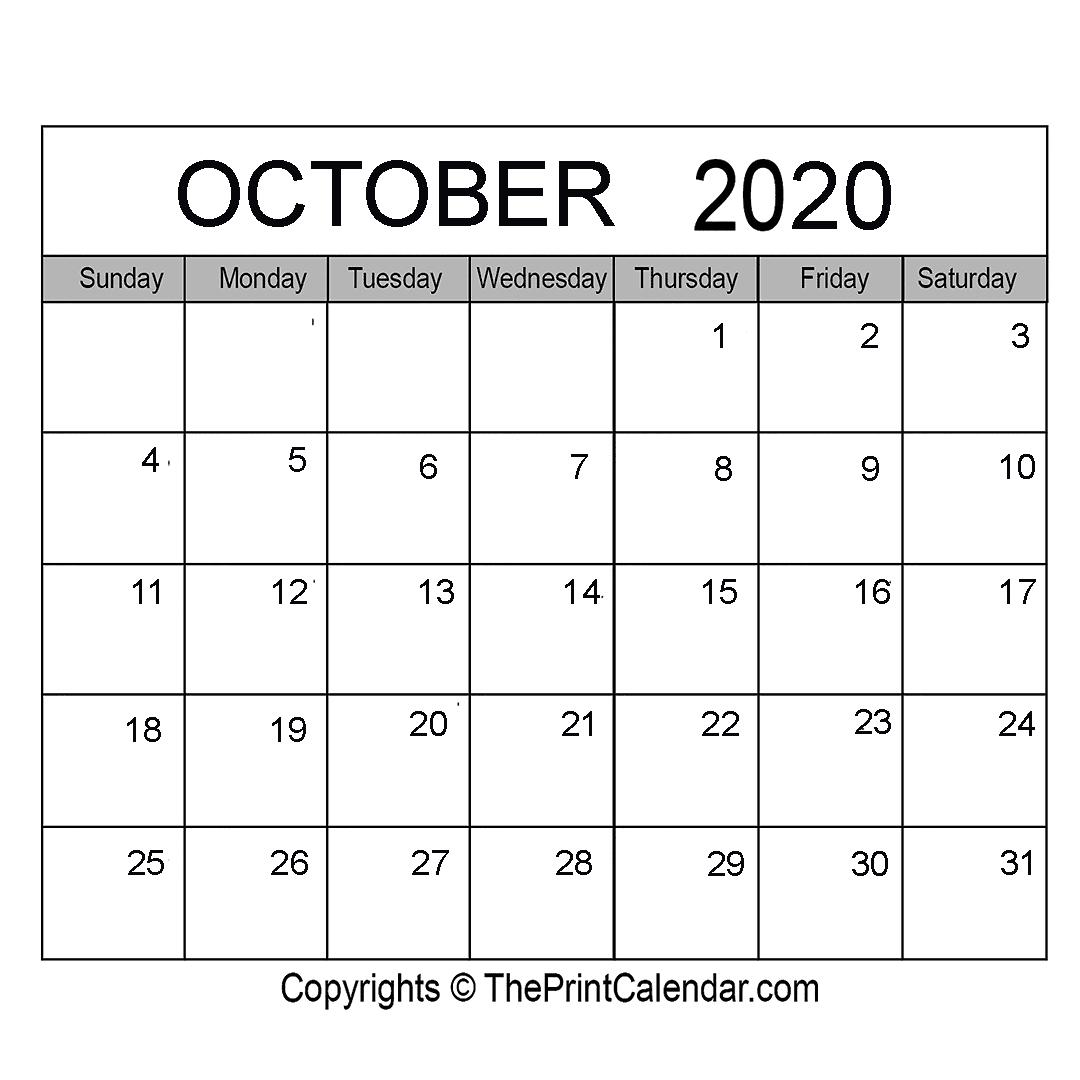October 2020 Printable Calendar Template [Pdf, Word & Excel]