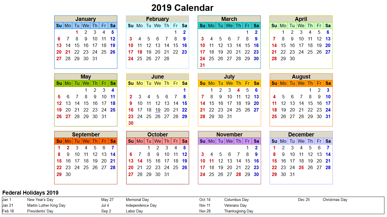 One Page 2019 Yearly Printable Calendar Download