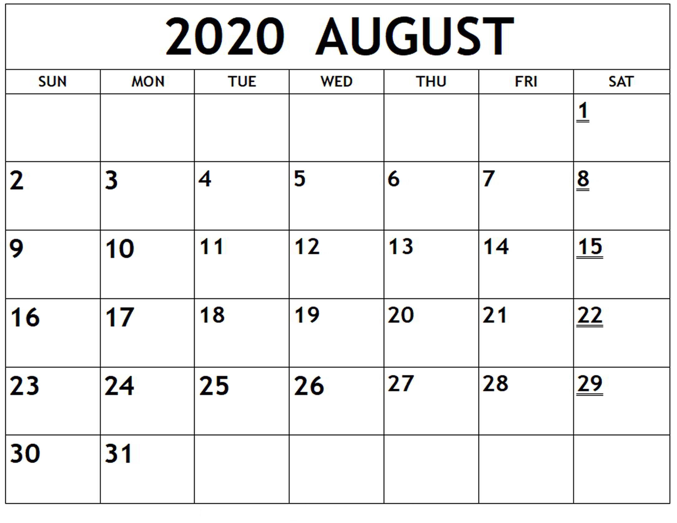 Online August 2020 Calendar Printable Usa School Holidays