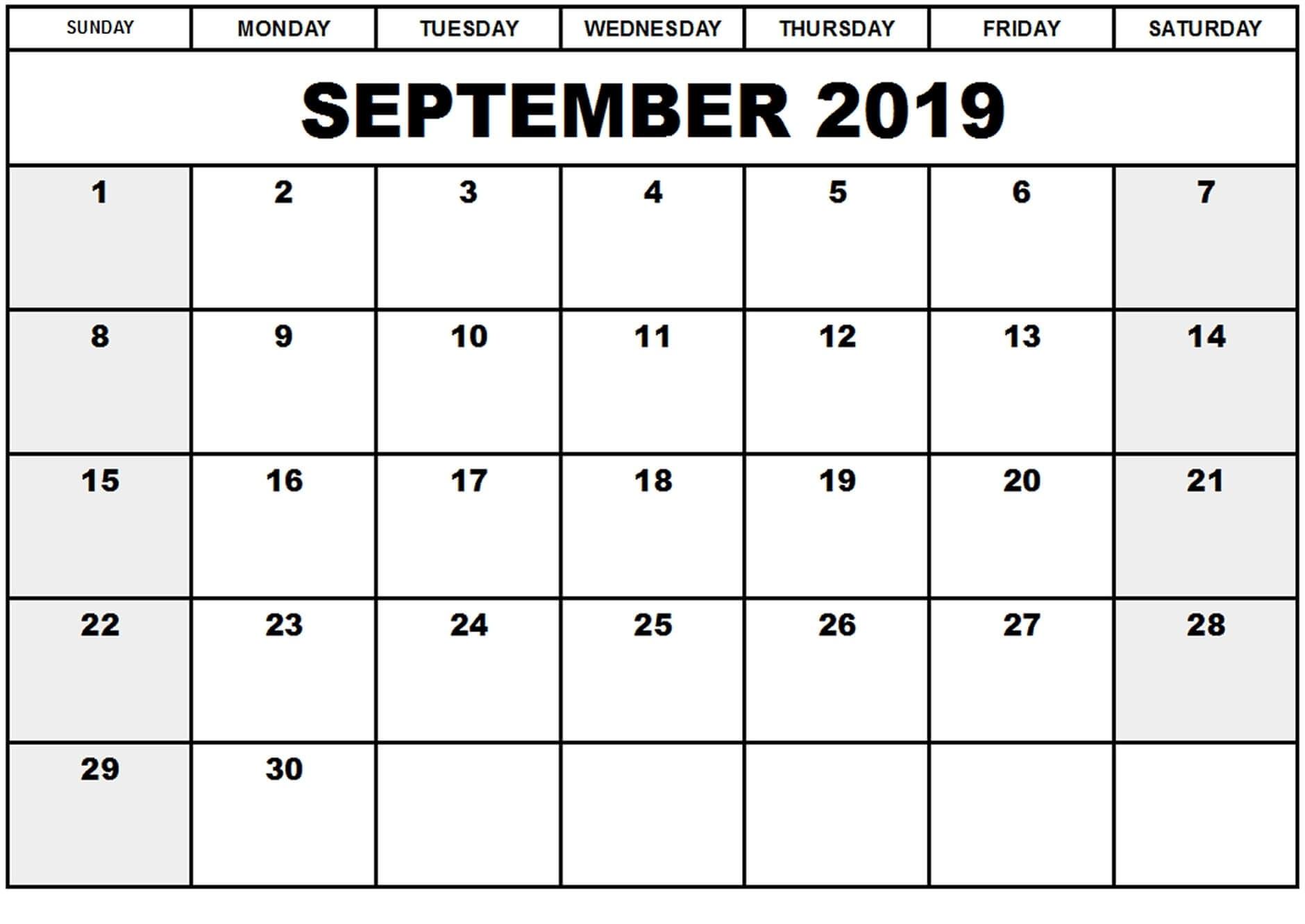 Online September 2019 Calendar Canada Holidays | Free
